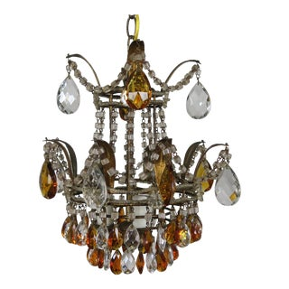 3-Light Italian Crystal Beaded Chandelier