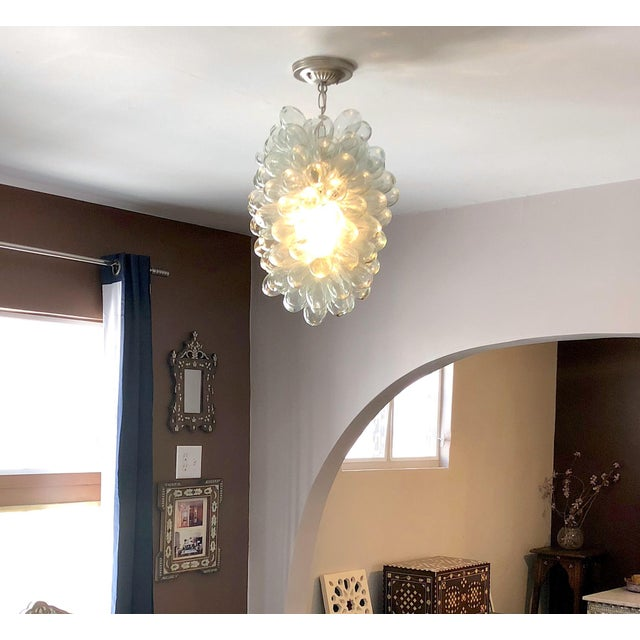 Clear Handblown Glass Light Fixture For Sale - Image 4 of 10