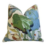 "Image of Gp & J Baker Nympheus Floral Linen Feather/Down Pillow 26"" Square For Sale"