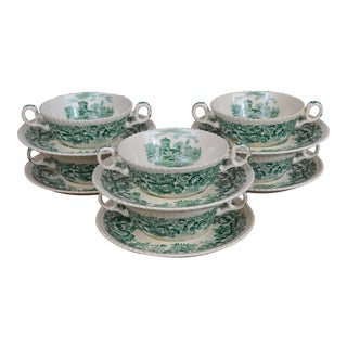 """Vintage Copeland Spode """"Beverly"""" Pattern Soup Bowls and Saucers- Set of 6 For Sale"""