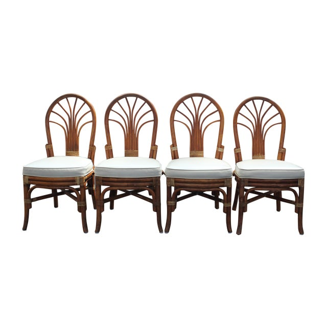 Vintage Rattan Dining Chairs - Set of 4 - Image 1 of 10