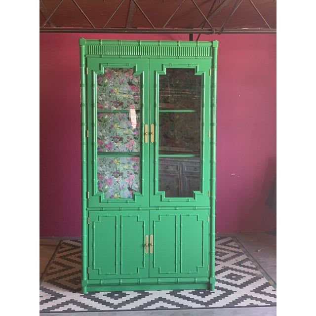 1960's Vintage Green Lacquered China Cabinet For Sale - Image 10 of 11