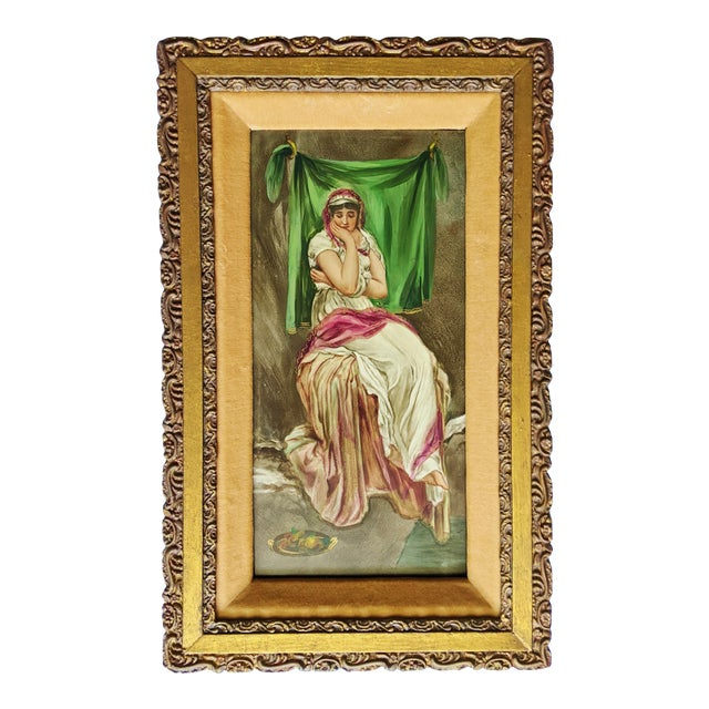 Late 19th Century German Hand Painted Figurative Porcelain Plaque, Framed For Sale