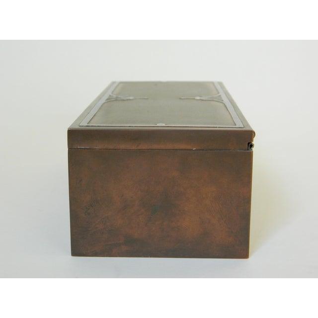 Heintz Silver Inlay & Bronze Cigar Box For Sale - Image 4 of 6