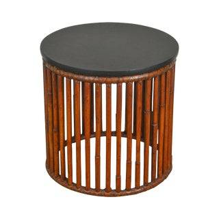 McGuire Rattan Bamboo Round Slate Top Cylinder Side Table For Sale
