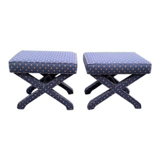 Upholstered X Benches - a Pair For Sale