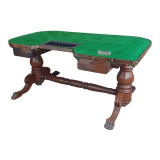 19th Century Fabulous Old West Frontier Gambling Oak Poker Table-C1860/80s For Sale