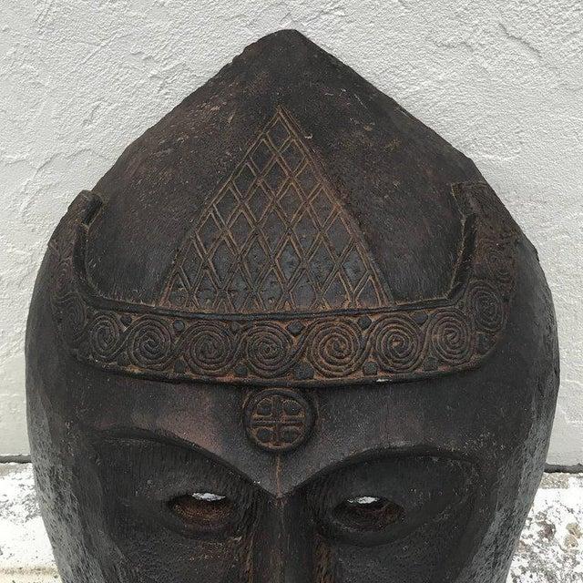 Huge Carved Mahogany Celtic Mask For Sale - Image 10 of 12