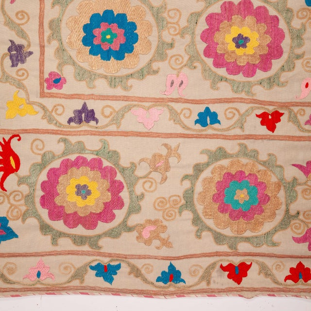 Vintage Colorful Hand Embroired Suzani Textile Bukhara Uzbekistan For Sale - Image 4 of 10