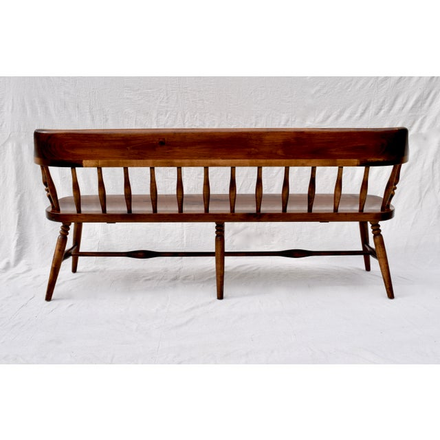 1970s Farmhouse Pine Spindle Back Bench For Sale - Image 5 of 10