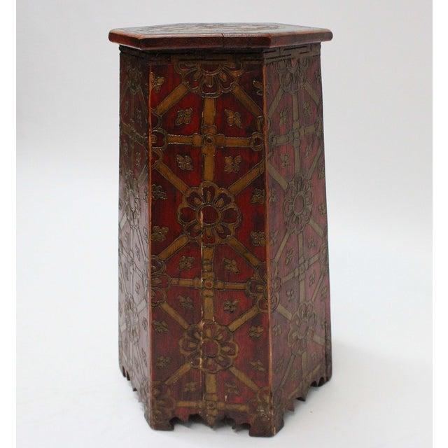 Vintage Hand Painted Tibetan Octagonal Side Table - Image 6 of 6