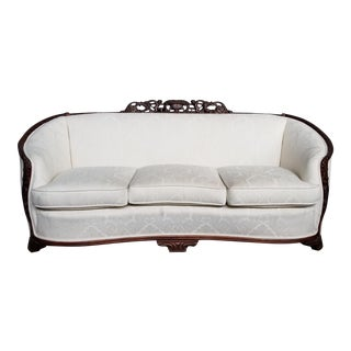 1940s French Art Deco Curved Tub Sofa For Sale
