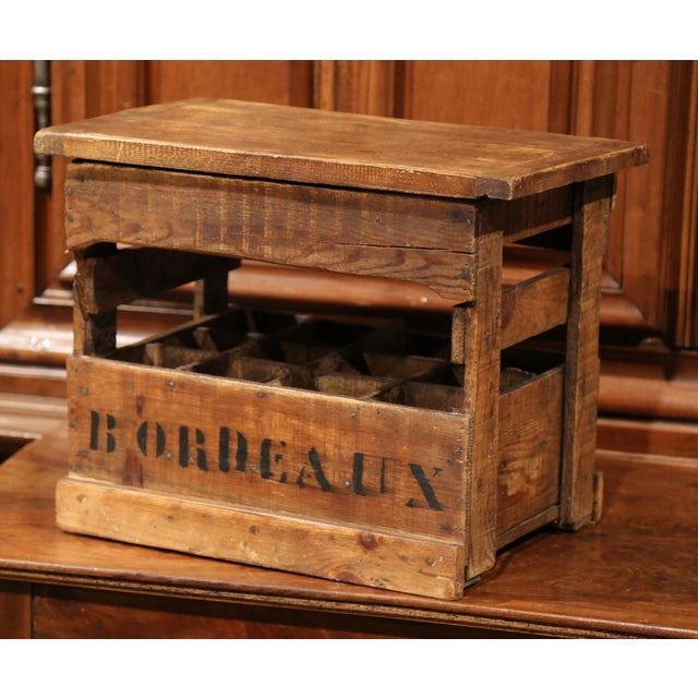 Brown Old French Pine 12 Wine Bottle Storage Cabinet with Bordeaux Inscription For Sale - Image 8 of 8