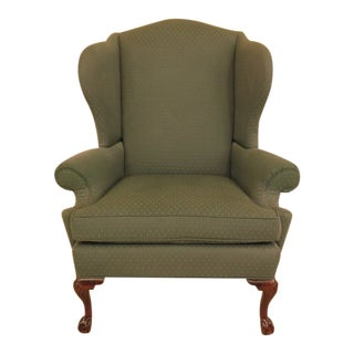 Ethan Allen Ball & Claw Foot Mahogany Wing Chair For Sale