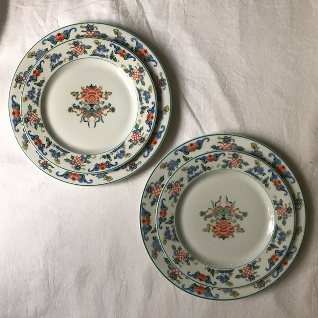 "Set of 2 Syracuse China dinner and salad/sandwich plates dated 1919 in ""Fusan"" pattern as marked on underside. Colorful..."