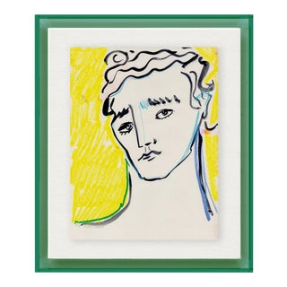 Portrait by Luke Edward Hall in Dark Green Acrylic Shadowbox, Extra Small Art Print For Sale