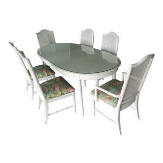 Palm Beach Style White Faux Bamboo Dining Set