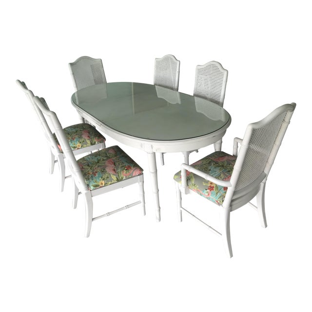 Palm Beach Style White Faux Bamboo Dining Set For Sale