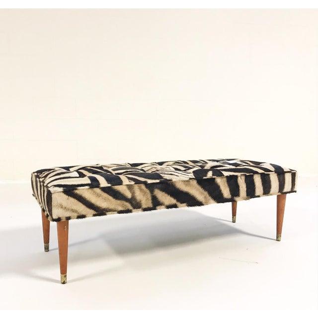 Vintage Milo Baughman Style Bench Restored in Patchwork Zebra Hide For Sale In Saint Louis - Image 6 of 6