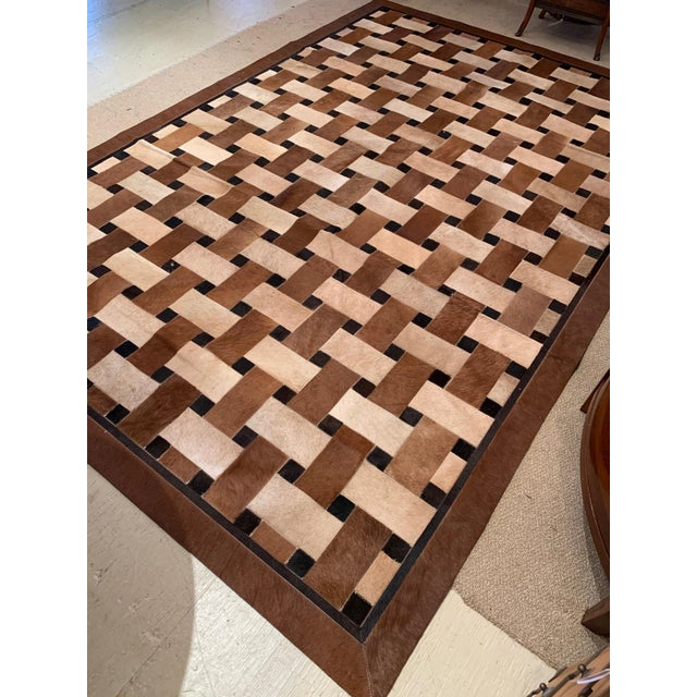Geometric Patchwork Cowhide Area Rug For Sale In Philadelphia - Image 6 of 13