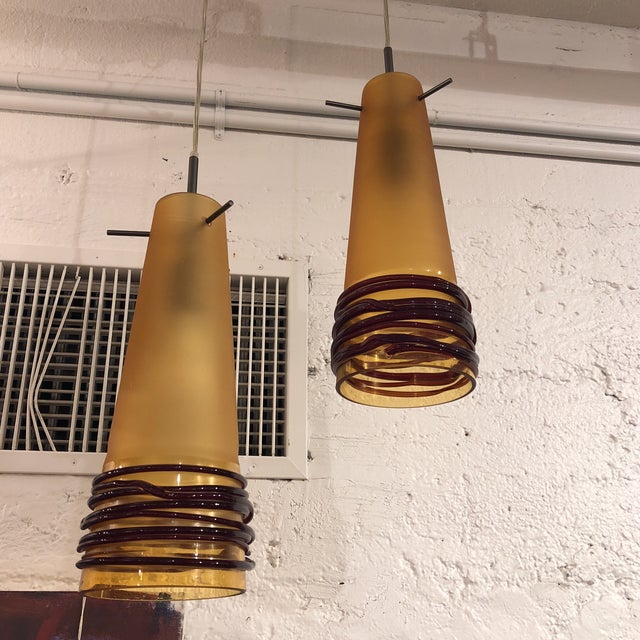 Oggetti luce hand blown glass pendant lights a pair chairish orange oggetti luce hand blown glass pendant lights a pair for sale image 8 aloadofball Choice Image
