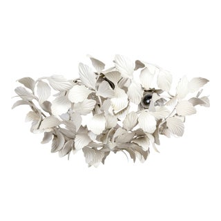White Tole Leaf Cluster Low Relief Wall or Ceiling Lights - 2 Available For Sale
