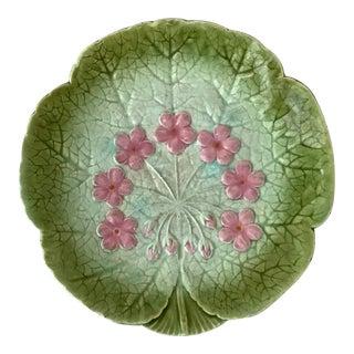 1890 Sarreguemines Majolica Flower Plate For Sale
