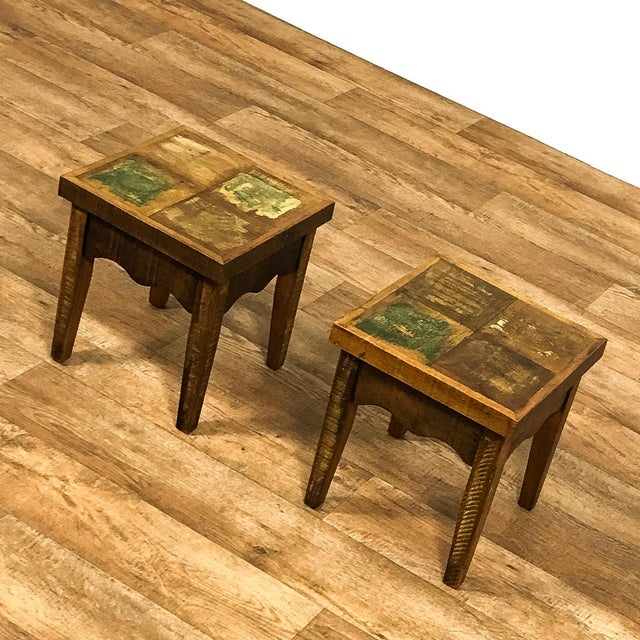 2010s Reclaimed Wood Stools - a Pair For Sale - Image 5 of 6