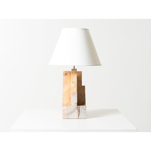 Reclaimed framing timber table lamp.
