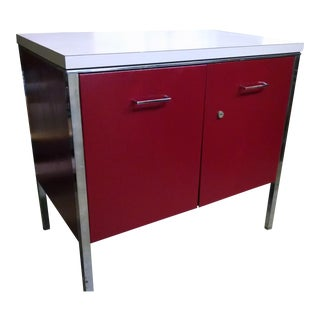 Vintage Red Metal Cabinet For Sale
