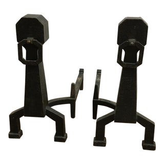 Arts & Crafts Andirons - a Pair For Sale