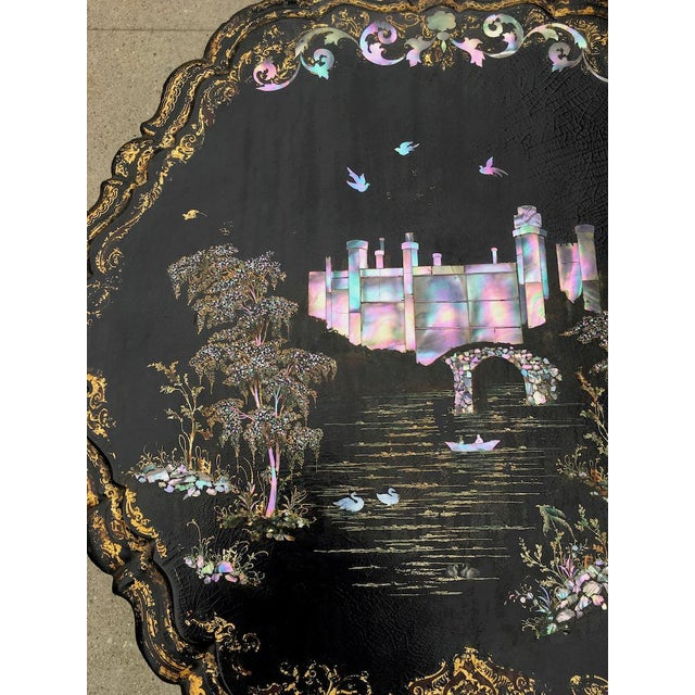Victorian Papier-Mache & Mother of Pearl Table For Sale In Los Angeles - Image 6 of 11