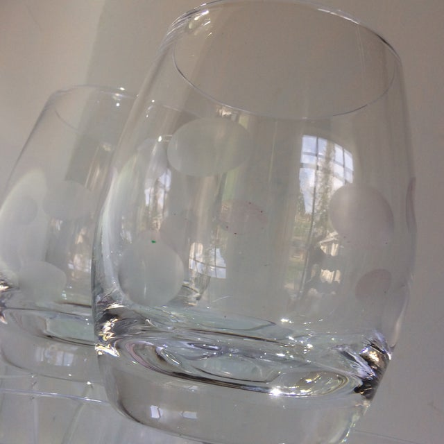 Mid-Century Modern Style Crystal Roly Poly Heavy Bottom Whiskey Glasses With Etched Polka Dots - Set of 6 For Sale - Image 12 of 13