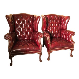 1970s Vintage Rich Burgundy Leather Vintage Tufted Chesterfield Wing Chairs- A Pair For Sale