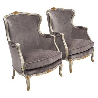 Louis XV Style French Bergère Chairs - a Pair For Sale