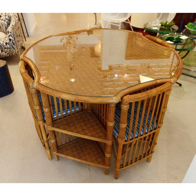 Boho Chic Vintage Rattan Set of Table and Four Chairs For Sale - Image 3 of 6