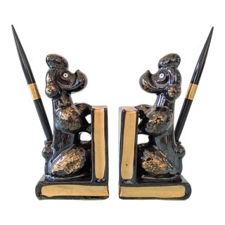 Ceramic Poodle Bookends - a Pair For Sale