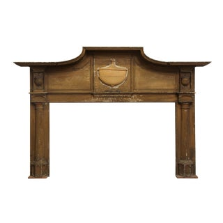 Early American Primitive Wooden Mantel With Urn Detail