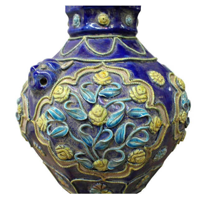 Handmade Ceramic Navy Blue Dimensional Flower Vase For Sale - Image 4 of 7