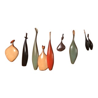 Sexton Metal Mid-Century Sculptural Wall Hanging Objects - Set of 6 For Sale