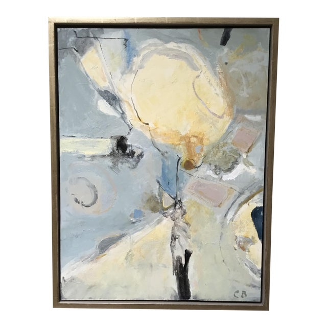 Abstract Painting in Grey, Blue, and Ivory - Image 1 of 8