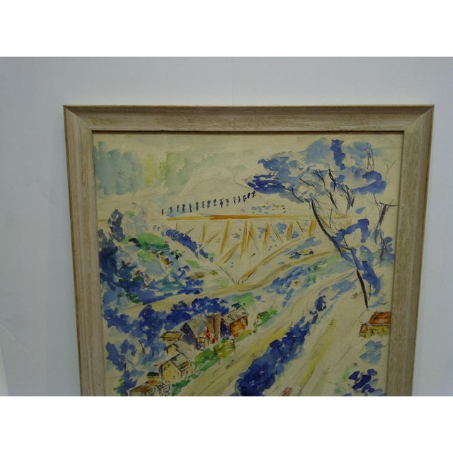"""American 1958 Americana Framed Original Painting, """"North Side of Pittsburgh"""" by S. Gottlieb For Sale - Image 3 of 11"""