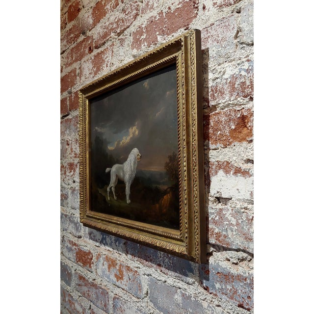 Metal 18th Century Portrait of White Poodle in a Landscape Oil Painting For Sale - Image 7 of 10