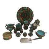 Image of Wedgwood Christoper Dresser Style Egyptian Mottled Green Collection - 16 Pieces For Sale