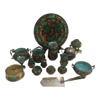 Wedgwood Christoper Dresser Style Egyptian Mottled Green Collection - 16 Pieces For Sale