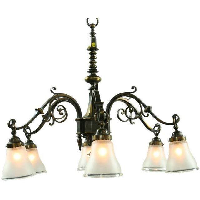 Large Heavy Vintage French Gothic Chandelier 6 - Image 2 of 3