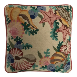 Vintage Needlepoint Seashell Pillow For Sale