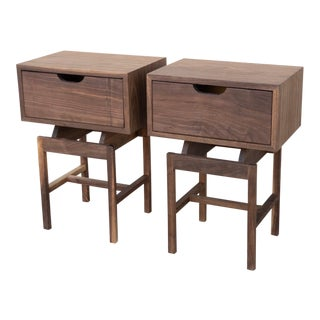 Handmade Walnut End Tables - a Pair For Sale