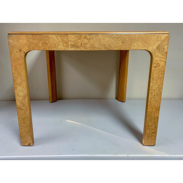 Modern Pair of Henredon Burlwood Side Tables For Sale - Image 3 of 6