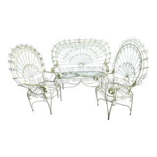 Vintage Yellow Peacock Love Seat & Chairs - Set of 3